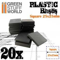 Plastic Bases Square 25x25mm (20)