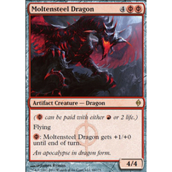 Magic löskort: New Phyrexia: Moltensteel Dragon