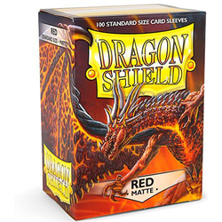 Card Sleeves Standard Matte Red (100 in box) (Dragon Shield)